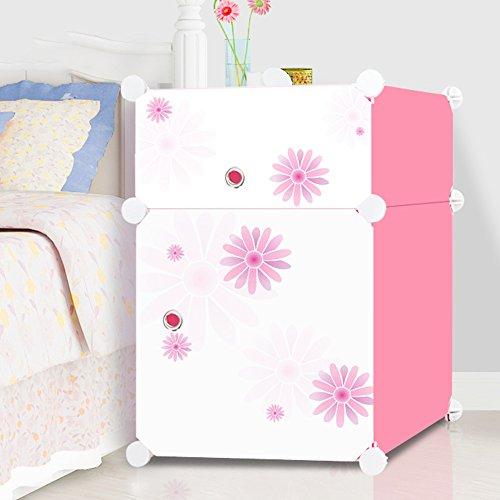 Flashing-DIY Armoires de rangement de petite armoire de mode avec portes, armoire de rangement moderne simple d'assemblage, armoire de mini-chevet en plastique simple de PVC de résine(37*37*54cm) ( Couleur : Rose , taille : 37*37*54cm )