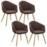 WOLTU 4er Set Küchenstuhl Esszimmerstühle Design Stuhl Wohnzimmerstuhl mit Armlehne Leinen Holz Antiklederoptik Dunkelbraun BH89dbr-4