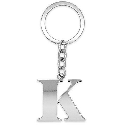 SoulCats® Schlüsselanhänger Buchstaben silber A-Z glänzend Initialen Schlüsselbund Edelstahl, Farbe: Silber, Auswahl: Modell K