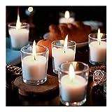 Supreme Lights Lot de 24 Bougies Votives avec Pot de Verre, Bougies Chauffe-Plat Blanches Non Parfumées, 12 Heures