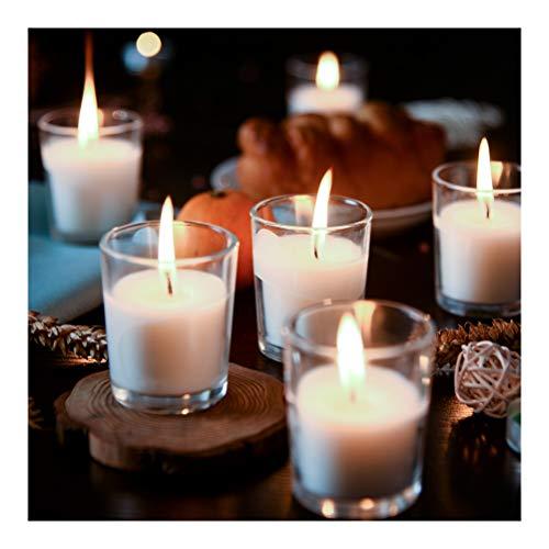 Supreme Lights Velas votivas en Vidrio Blanco, Juego de 24 a 12 Horas de Tiempo de Quemado, Velas estables Transparentes sin Perfume para cumpleaños, Fiestas, Bodas, Celebraciones, hogar y Catering
