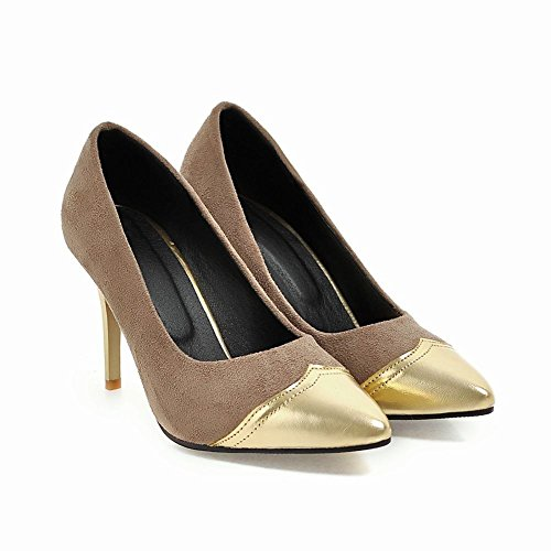 Mee Shoes Damen Stiletto mehrfarbig Nubukleder Pumps Aprikose