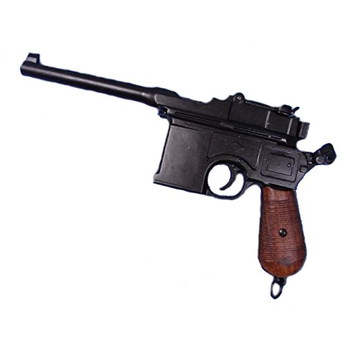 Deko Waffe Mauser C96 Pistole, schwarz mit Holzgriff 1896 (Pistole Mauser)