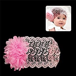 Pink : Babys Wide Lace Stretch Headband Pink with Flowers