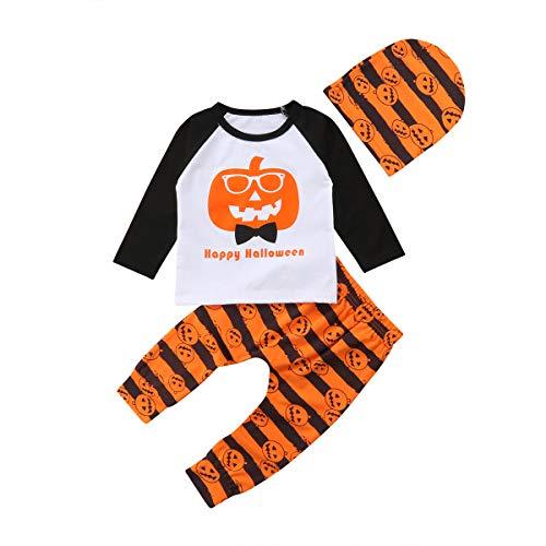 WangsCanis Baby Junge Mädchen Kürbis Halloween Kostüm Kleidung Leggings Hut Nette 3 STÜCKE Outfit Set (0-6 Monate) (Monate 0-3 Halloween-outfits)