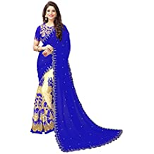 Koroshni Women's Georgette Embroidery Hlaf And Half Saree With Blouse Material