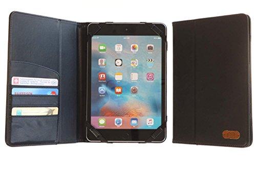 Preisvergleich Produktbild 3Q Universal Tablet-Hülle 10 Zoll 10.1 Zoll 9 Zoll Hochwertiger Leder-Optik Elegante Tablet Tasche Etui mit Fächern für Kreditkarte Ausweis Geld Schweizer Premium Design und Verpackung Case Schwarz