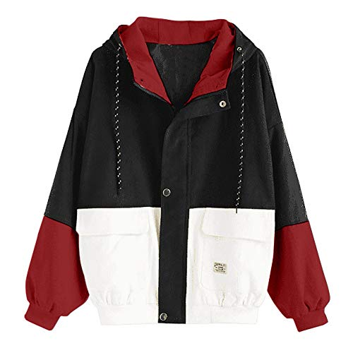 Damen Cord Jacken und Mantel Frauen Mode Strickjacke Cardigan Langarm Patchwork Oversize Coat Herbst Winter Windbreaker Outwear