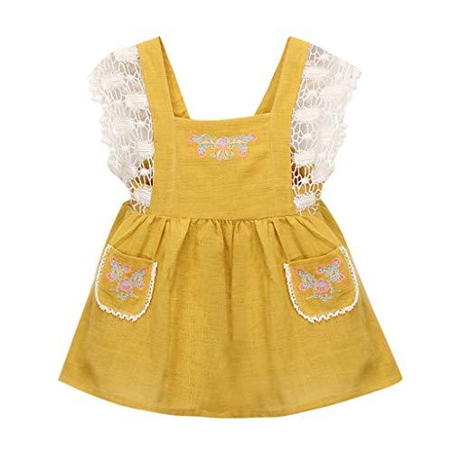 YWLINK MäDchen Spitze Patchwork Party Prinzessin Overall Kleid Bib A-Linien Shiftkleid ()