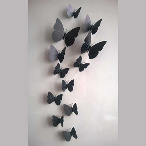 12 Pieces 3D Butterfly Stickrs Fashion Design DIY Wall Decoration House Decoration...
