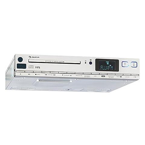 auna KCD-20 • Küchenradio • Unterbauradio • Aluminium Look • UKW-Radio • RDS • 20 Speicherplätze • MP3-fähiger USB-Port • CD- und MP3-Player • AUX • einstellbarer Alarm • 2 x 6,5 cm (1,5