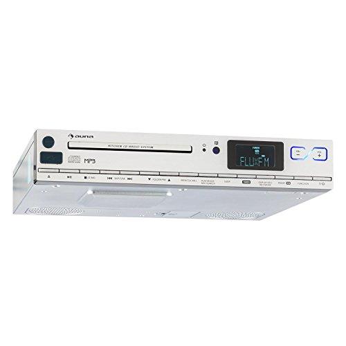 auna KCD-20 • Radio de cocina • Radio para mueble • Aspecto de aluminio • Radio FM • RDS • Memoria 20 emisoras • Puerto USB compatible con MP3 • AUX • Alarma • Mando a distancia • Plateado