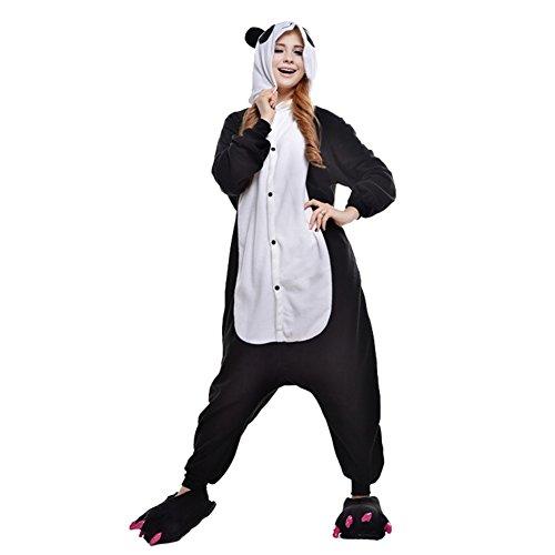 Herren Kostüm Panda - Free Fisher Damen/ Herren Schlafanzug Pyjama, Tier Kostüm, Panda Schwarz, Gr. XL (Körpergröße 178-188 CM)