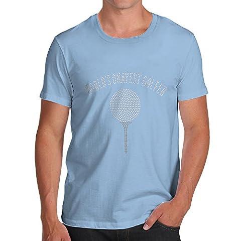 TWISTED ENVY Homme T-Shirt Worlds Okayest Golfer Rhinestone Diamante Strass Large Ciel bleu