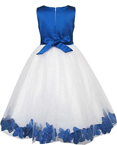 Dresstells,Robe de fille Robe fillette de soirée/cérémonie/demoiselle d'honneur/baptême col rond avec fleur Bleu Saphir