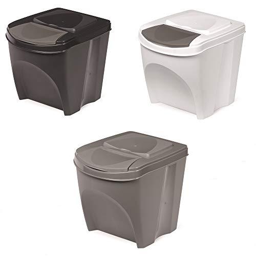 Mülleimer Abfalleimer Mülltrennsystem 25L Behälter Sorti Box Müllsortierer 3 Farben von rg-vertrieb (Anthrazit)