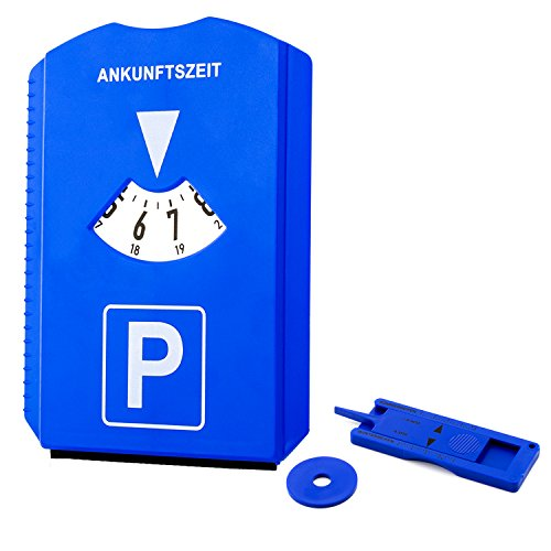 5x Parkscheibe für PKW mit Eiskratzer, Profiltiefenmesser, Einkauswagenchip und Gummilippe | Hitzebeständig | Hohe Qualität | Made in Germany