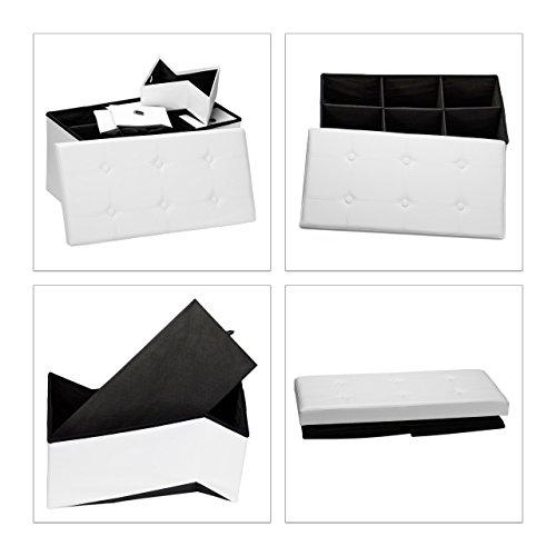 Relaxdays faltbare Sitzbank mit Stauraum in 6 entnehmbaren Fächern HBT: 38 x 76 x 38 cm Sitztruhe aus Kunstleder zum Falten mit Aufbewahrung Ottomane mit entnehmbaren Körben Sitzhocker, weiß -