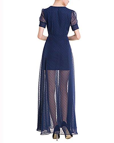 Estivi Vintage Donna Vestito Chiffon Casual Cerimonia Manica Corta Vestiti V Collo Doppio Strato Trasparente Abito Marina Militare
