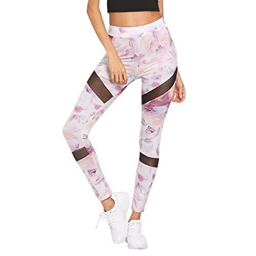 LianMengMVP Sport Leggings Damen Elastische Capri Yoga Hose Bunt Fitness Sportleggins Leggins Gym (Rosa, S) -