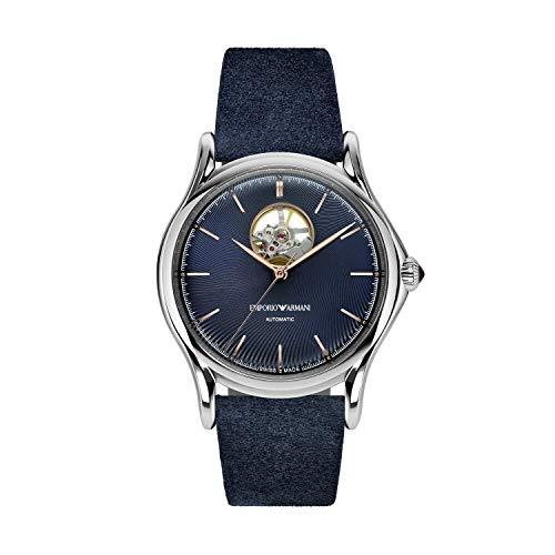 Emporio Armani Herren Analog Automatik Uhr mit Leder Armband ARS3305