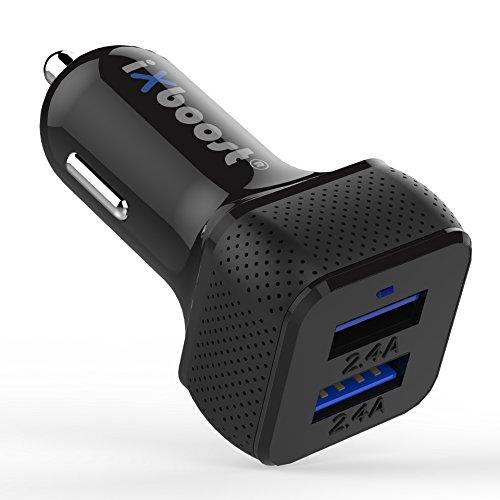 iXboost® iX-1S Speed Charge 4.8A Mini Dual USB Auto-Ladegerät Auto Adapter mit Intelligent IC 2 Port Kfz Ladeadapter für alle Handy z.B. Samsung / HTC / Huawei / LG / OnePlus / iPhone 7 uvm. schwarz ...