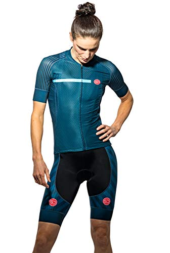 Sundried Womens Pro Bereich Radfahren Jersey Kurzarm Bike Jersey Straßen-Fahrrad-Zyklus-Abnutzungs-Mountainbike-Shirts (blau, L) -