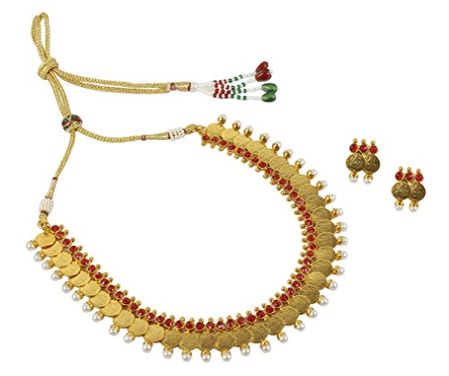 MUCH MORE 22k Gold Polished Stunning Ginni Necklace Set Women and Girls  available at amazon for Rs.449