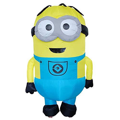 Mädchen Kostüm Minion Me Despicable - Adult Minion Stuart Aufblasbares Kostüm - Despicable Me Minion Blue Overalls Aufblasbares Kostüm Cosplay Halloween Kostüm Cosplay mit Luftgebläse - 160-190 cm hoch