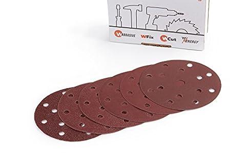 Velcro de papier abrasif Diamètre 150mm Grain 60Lot de 10x 40/60/80/120/180/240pour disques abrasifs adhésive Velcro Ponceuse excentrique de 15trous