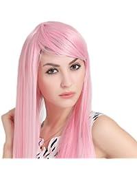 ZYF Cosplay Peluca Anime Rosa Larga Peluca De Pelo Lacio Calor 150% Pelo Natural Denso