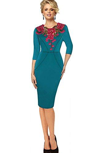 Babyonline dress Damen Baumwolle Langarm Etuikleid mit Blumenstickerei  knielang Slim Fit S2XL Grün