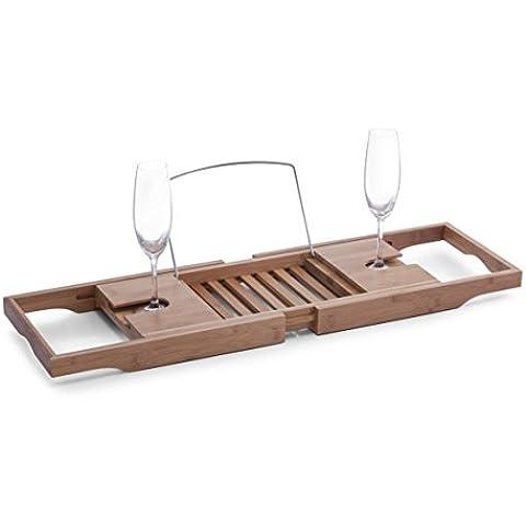 No-Compromise (HPC) NC-1111360611 - Bandeja de bambú para bañera, con atril para libros