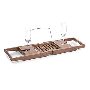 Zeller 13606 Badewannenablage, Bamboo/Metall verchromt, ca. 70-105 x 22 x 4 cm
