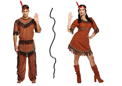 Couple Adult Red Indian Costume Party Set - Native Americans