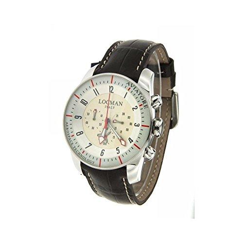 Montre Locman Homme 045000avfkrapst au quartz (Batterie) acier Quandrante beige bracelet cuir