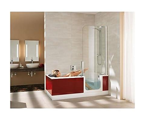 Artweger Twinline 2 Dusch Badewanne 170 cm mit Tür Duschabtrennung silber matt mit Schürze Glas anthrazit
