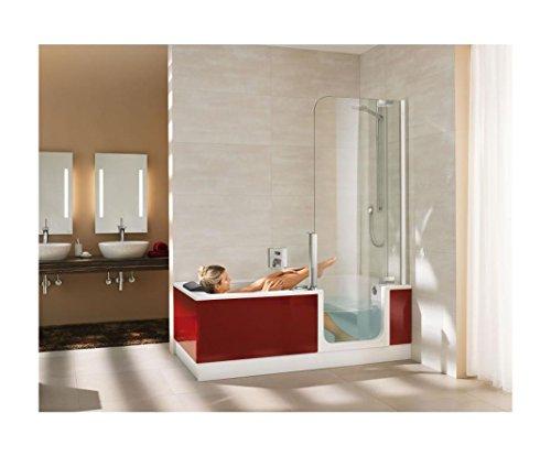 Preisvergleich Produktbild Artweger Twinline 2 Dusch Badewanne 170 cm mit Tür Duschabtrennung silber matt mit Schürze Glas weiss