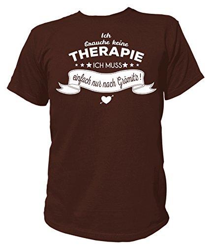 Artdiktat Herren T-Shirt Ich brauche keine Therapie - Ich muss einfach nur nach Grömitz Braun