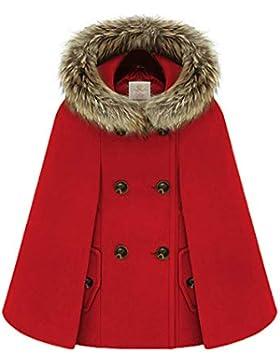Mujer Otoño Invierno Capa Poncho Túnica Chaqueta Capa Chal en Capuchado Cárdigan Outwear Rojo XL