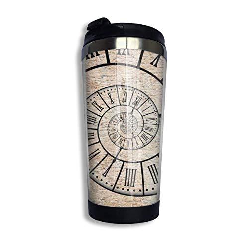 Qurbet Kaffeebecher Thermobecher mit Schraubdeckel, Clock Roman Digit Time Spiral Vintage Stainless Steel Reisebecher for Men & Women Home Office Camping