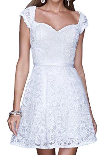 ivyd ressing Donna Sweetheart pizzo Mini Breve giromanica Prom abito Fest Cocktail vestito da sera Bianco