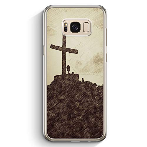 Vintage Großes Kreuz Landschaft - Hülle für Samsung Galaxy S8 - Motiv Design Christlich Jesus Schön - Cover Hardcase Handyhülle Schutzhülle Case Schale