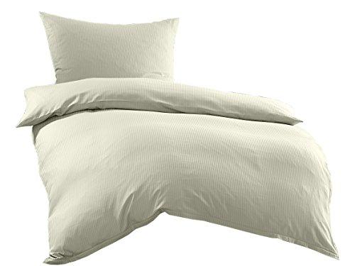 Bettwaesche-mit-Stil Mako-Satin Damast Streifen Bettwäsche Linea 4mm 100% Baumwolle Gestreift