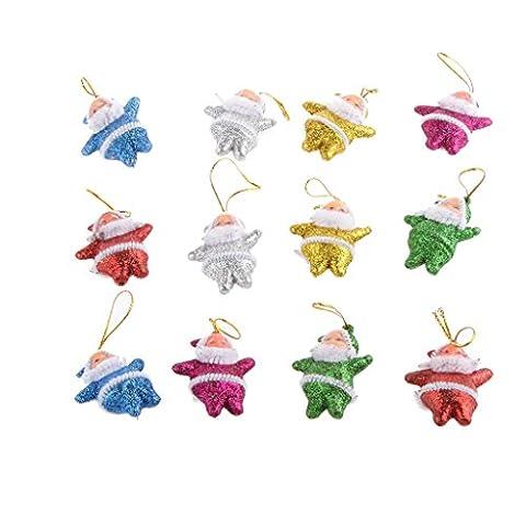 Set de 12pcs Mignon Père Noël Figurine en Paillettes Ornement Suspensions pour Arbre de Noël -Multicolore