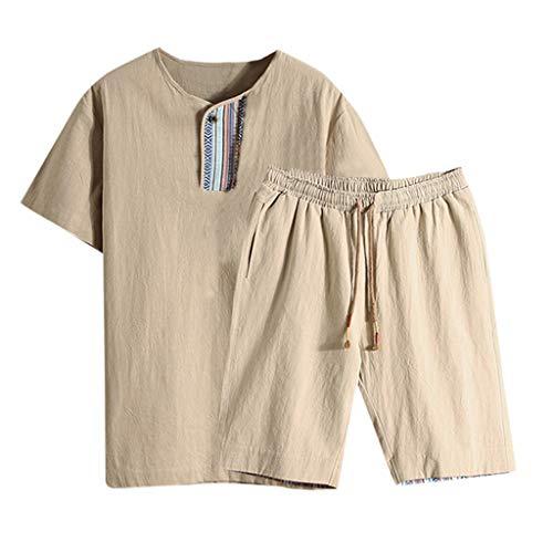 friendGG❤️Tops Hemden Outdoor Fun-T-Shirts Sport & Freizeit Herrenbekleidung Sportswear-Shirts & Hemden für Herren Sommermode Herren Baumwolle und Leinen Kurzarm Shorts Set Anzug Trainingsanzug -