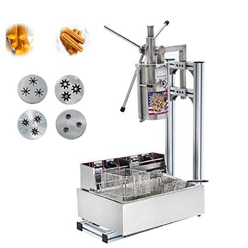 5L máquina de hacer Churro Español Comercial Profesional Churro Maker Herramienta Cocina Cocina Pastelería con Cortador con 12L freidora eléctrica 220V-240V CE