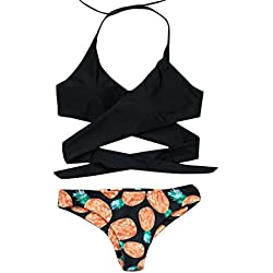 Traje de baño 2018, ♥Ba Zha Hei Mujer Bikini Conjunto con Sujetador Push-up Caliente Alto Halter Bikini Conjunto piña Traje de baño Backless Bikini brasileño Traje de baño Sexy Mujer (M, Negro)