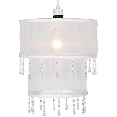 MiniSun – Moderna pantalla para lámpara de techo a dos niveles, de gasa blanca con gotas