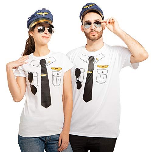 (Pärchen Pilotenkostüm mit Shirts Mützen und Brillen für Karneval & Fasching Mann Weiß Large/Frau Weiß Medium)